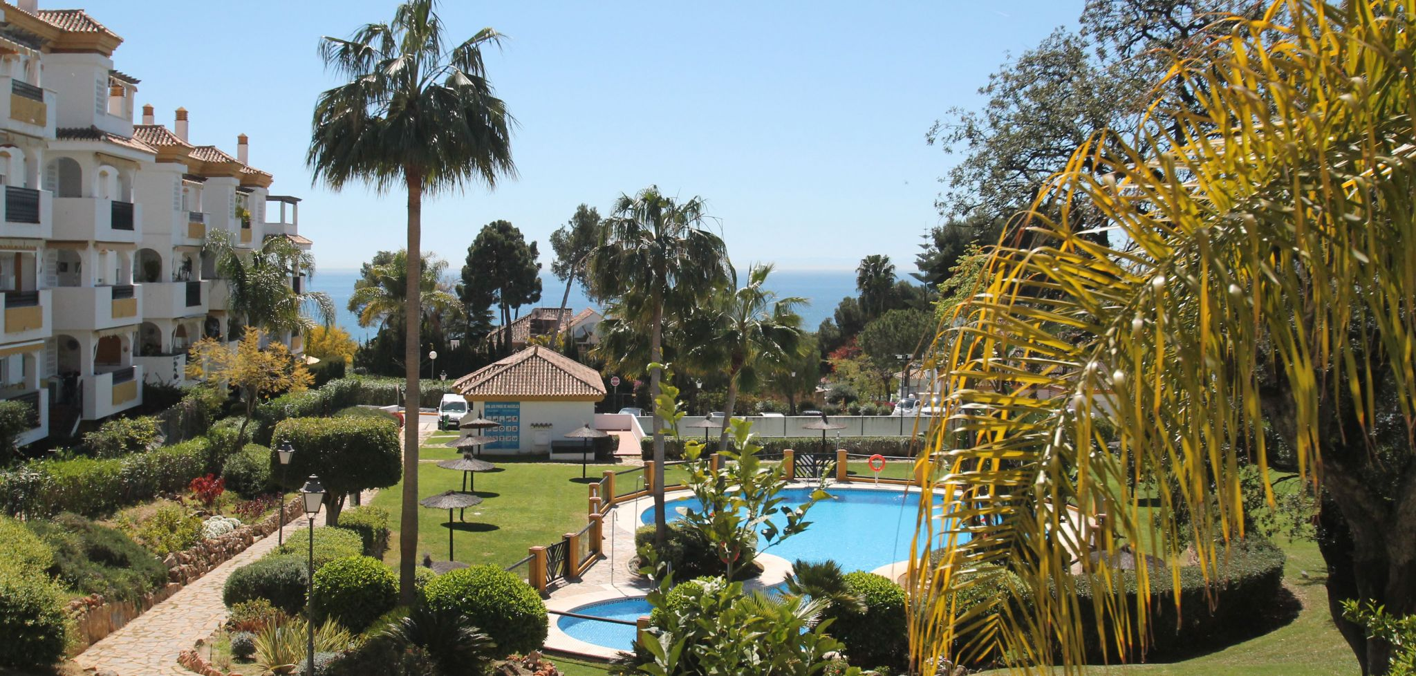 South facing two bedroom first floor apartment with sea views in Marbella