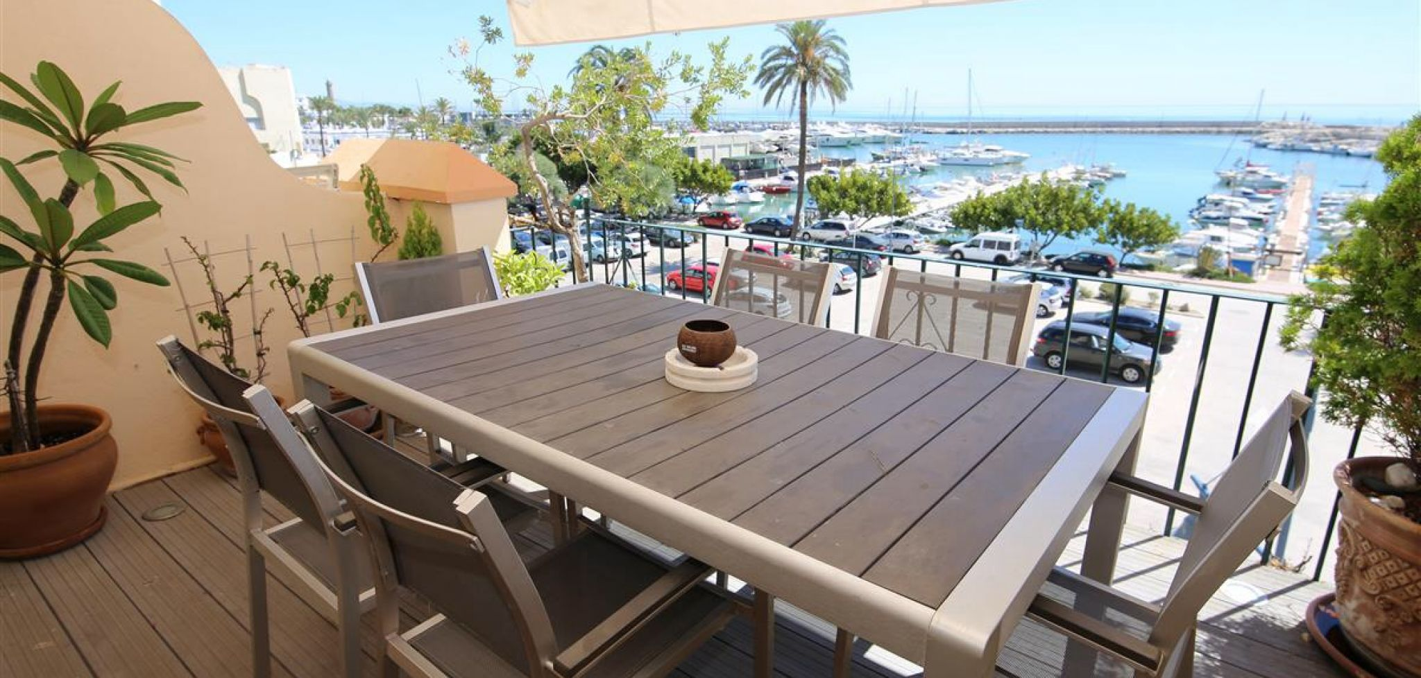 Front line beach townhouse overlooking the marina in Estepona Port