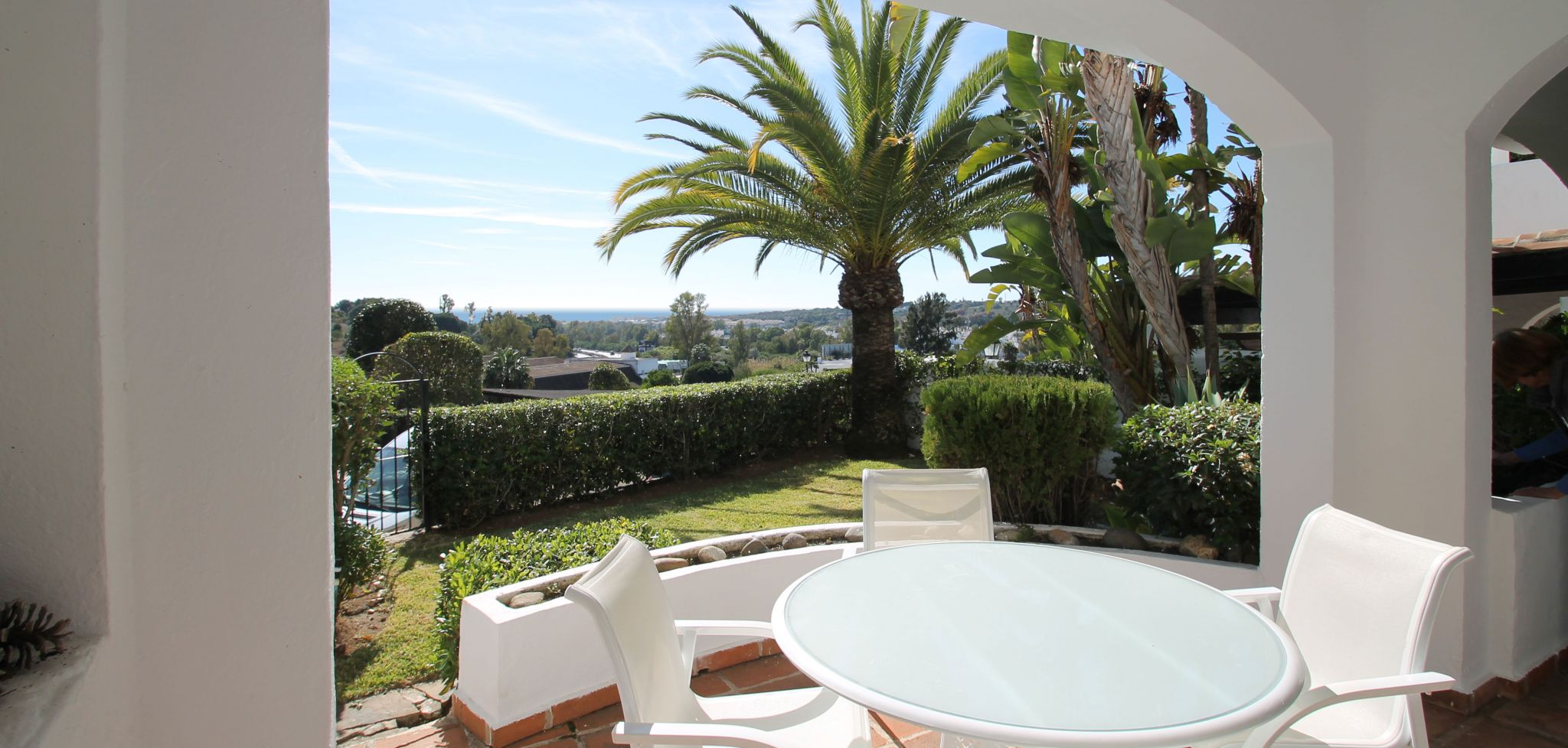South facing two bedroom garden apartment with sea views in Club Sierra